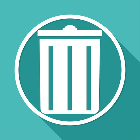 environmentalist: trash can icon on white circle with a long shadow Illustration