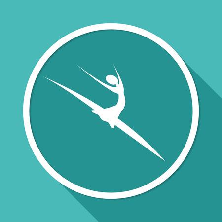 manicurista: icono de bailar�n en c�rculo blanco con una larga sombra Vectores