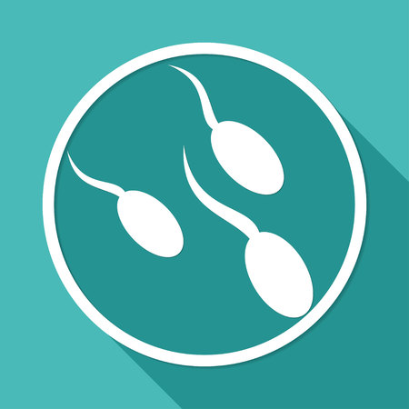 fertilize: Sperm icon on white circle with a long shadow