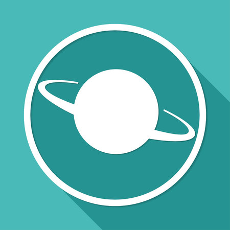 UFO Icon on white circle with a long shadow Vector