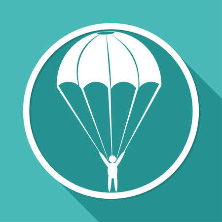 trooper: Icon Parachute on white circle with a long shadow