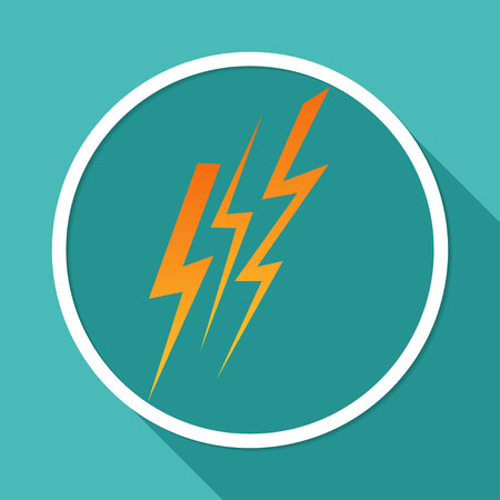 Icon  Lightning arrowon white circle with a long shadow Illustration