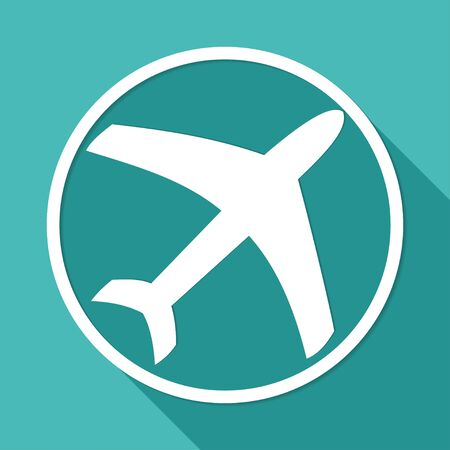 steward: Icon airplane on white circle with a long shadow