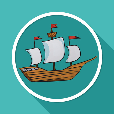 pirate crew: Icon sailing vessel on white circle with a long shadow
