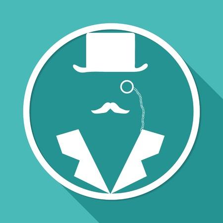 secret service: Man in suit. Secret service agent icon a long shadow