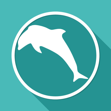 cetacea: Icon dolphin on white circle with a long shadow