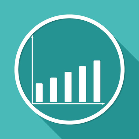 Icon Business graph on white circle with a long shadow Vettoriali