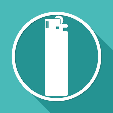 igniter: Icon lighter on white circle with a long shadow