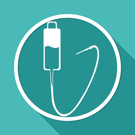 long recovery: Icon Medical dropper on white circle with a long shadow