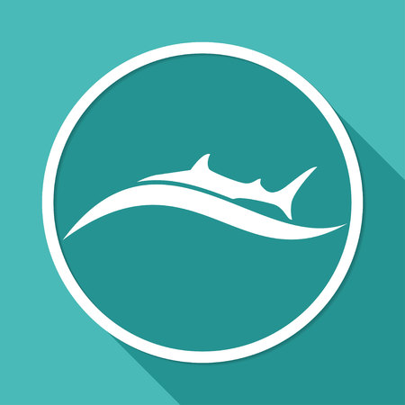 curve claw: Icon shark on white circle with a long shadow
