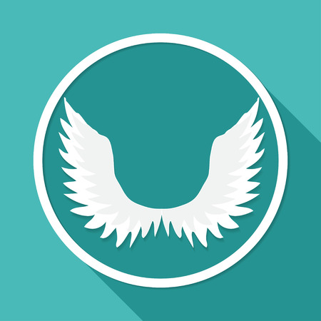 bird illustration: Icon angel  on white circle with a long shadow