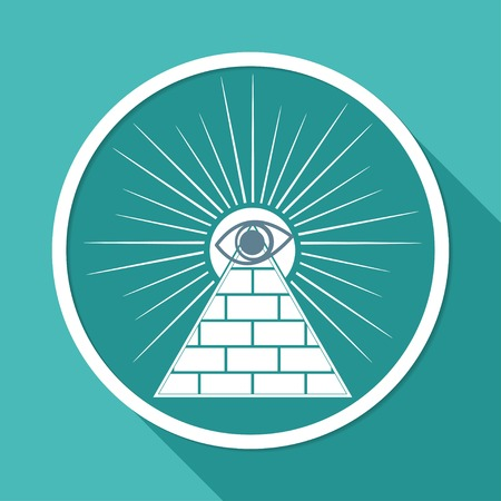 gnostic: Icon Pyramid on white circle with a long shadow