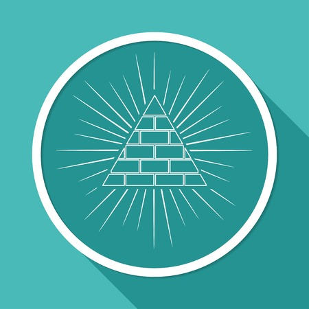 rosicrucian: Icon Pyramid on white circle with a long shadow