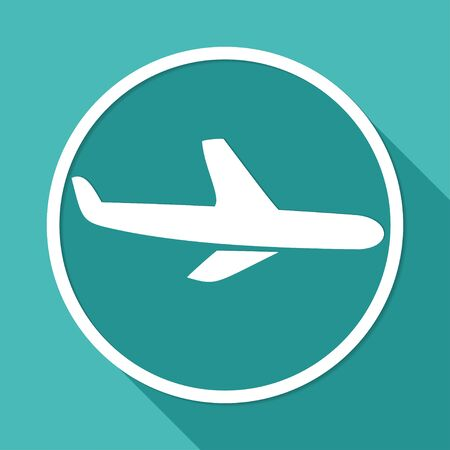 flight steward: Icon airplane on white circle with a long shadow