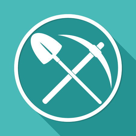 handtool: Icon pick and shovel on white circle with a long shadow