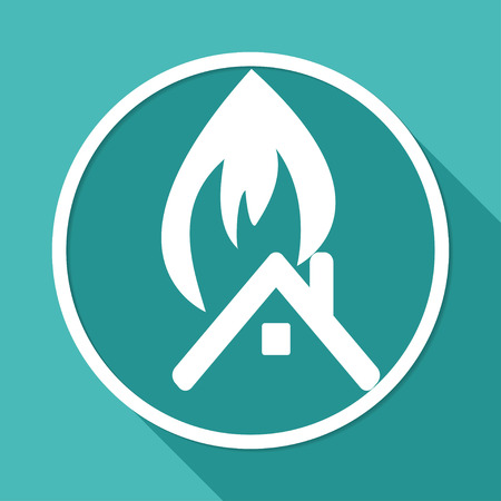 incident: Icon fire warning on white circle with a long shadow