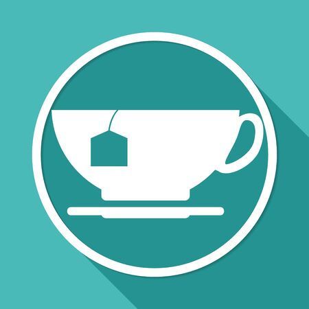brewing house: Icon cup  on white circle with a long shadow