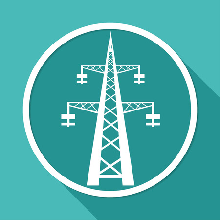 Icon Power transmission tower on white circle with a long shadow Illustration