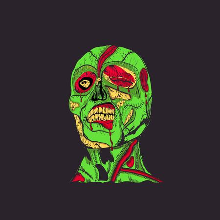rotting: zombie head with brain Illustration