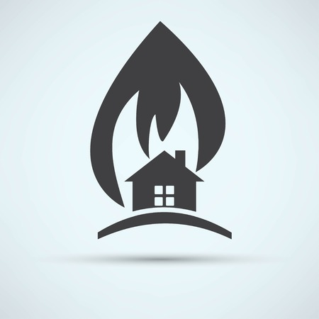 ruined house: fire warning Illustration