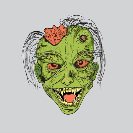 zombie head with brain Illustration
