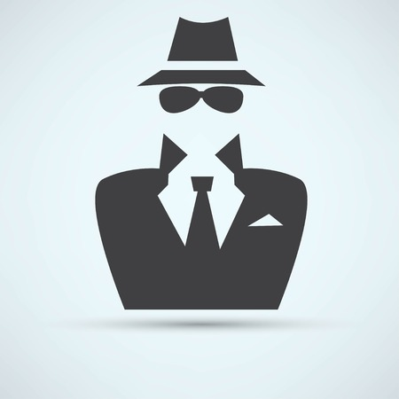 unrecognizable person: Man in suit. Secret service agent icon Illustration