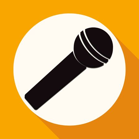mc: microphone icon on white circle with a long shadow