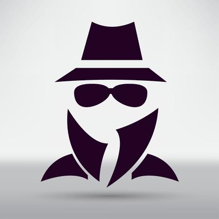 Man in suit. Secret service agent icon Çizim