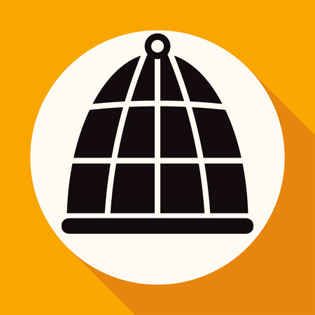 prison house: bird cage icon on white circle with a long shadow Illustration