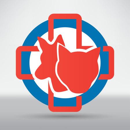 Veterinary sign cat and dog symbol Illustration