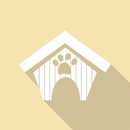 animal shelter: dog house icon with a long shadow Illustration