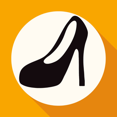 long socks: Women Boots Icon on white circle with a long shadow