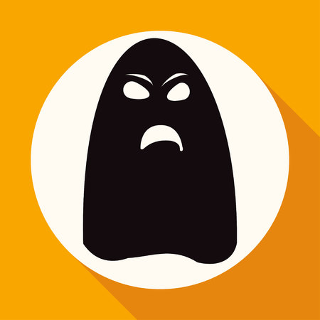unfriendly: ghost icon on white circle with a long shadow