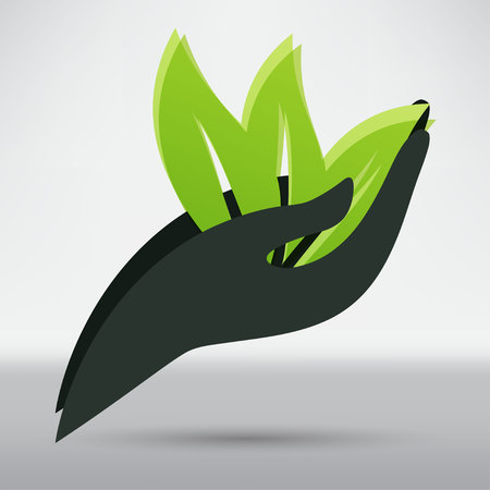 preserve: Hands and plant icon Illustration