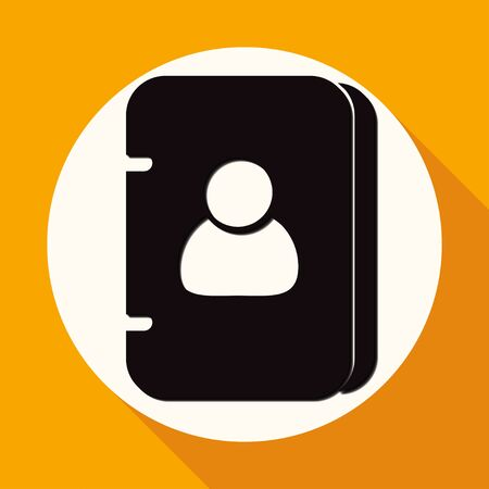 group icon: Icon address book on white circle with a long shadow