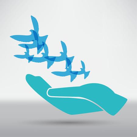dove: Ilustración de la paloma en mano