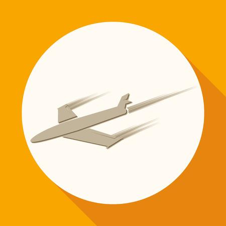 flight steward: airplane symbol on white circle with a long shadow