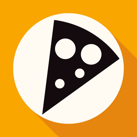 flavorful: pizza slice on white circle with a long shadow Illustration