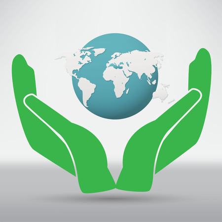 blue earth: Hands holding a blue earth Illustration