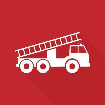 brandweer cartoon: Vector illustratie van een brandweerwagen met lange schaduw Stock Illustratie