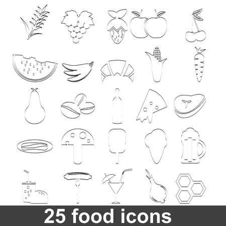 grapes and mushrooms: Food and Drink icons set Illustration