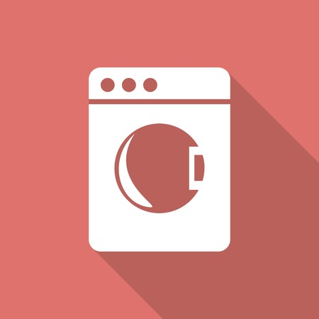 fully automatic: washing machine icon with a long shadow