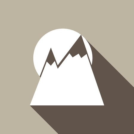 mountainside: Mountain icon with a long shadow