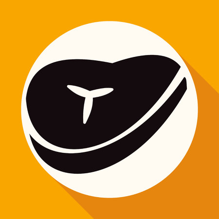 roast lamb: bacon icon on white circle with a long shadow