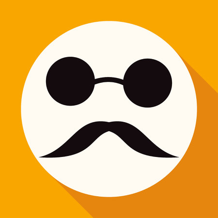 bowler hat: Bowler hat and moustache on white circle with a long shadow Illustration