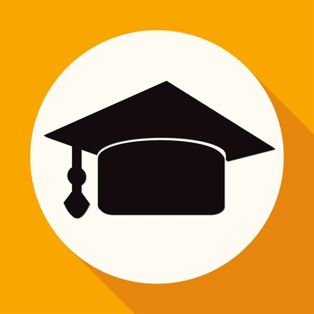 doctorate: Icon Graduation cap on white circle with a long shadow