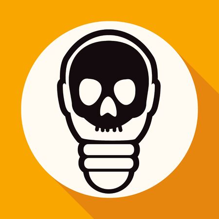 scriibble: Icon Light bulb on white circle with a long shadow
