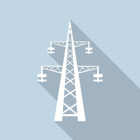high tension: Icon Power transmission tower with a long shadow