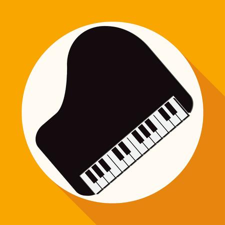klavier: Piano-Symbol auf wei�em Kreis mit einem langen Schatten