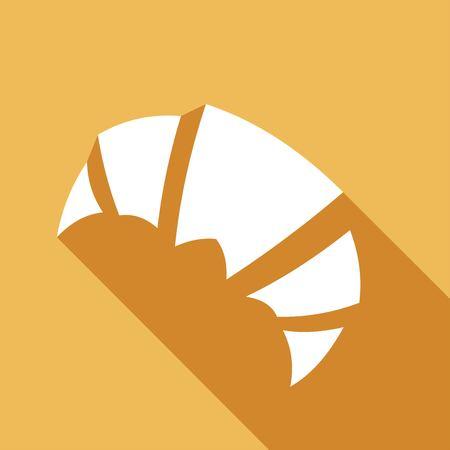 Pain croissant Icon avec une longue ombre Banque d'images - 41843223
